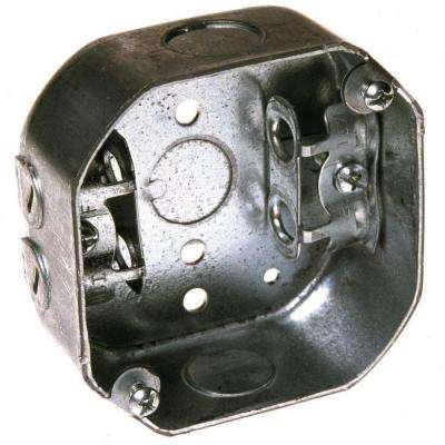 4 in. Octagon Box, Drawn, 1-1/2 in. Deep, Three 1/2 in. KO's & AC/MC/Flex Clamps (25-Pack)