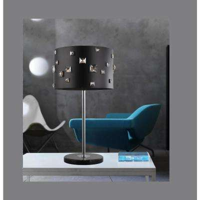 Shadow 26 in. Black Table Lamp with Black Shade