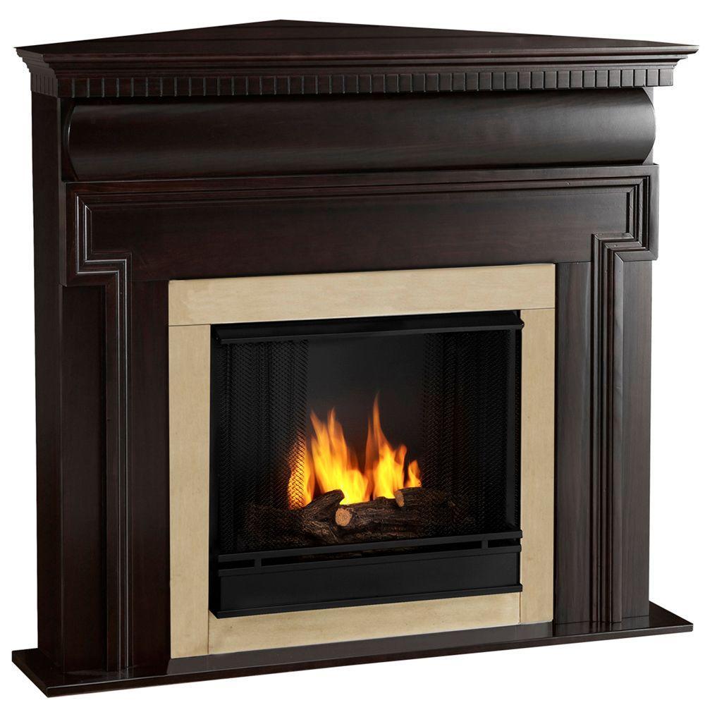Real Flame Mt. Vernon 48 in. Corner Gel Fuel Fireplace in Dark Walnut-DISCONTINUED