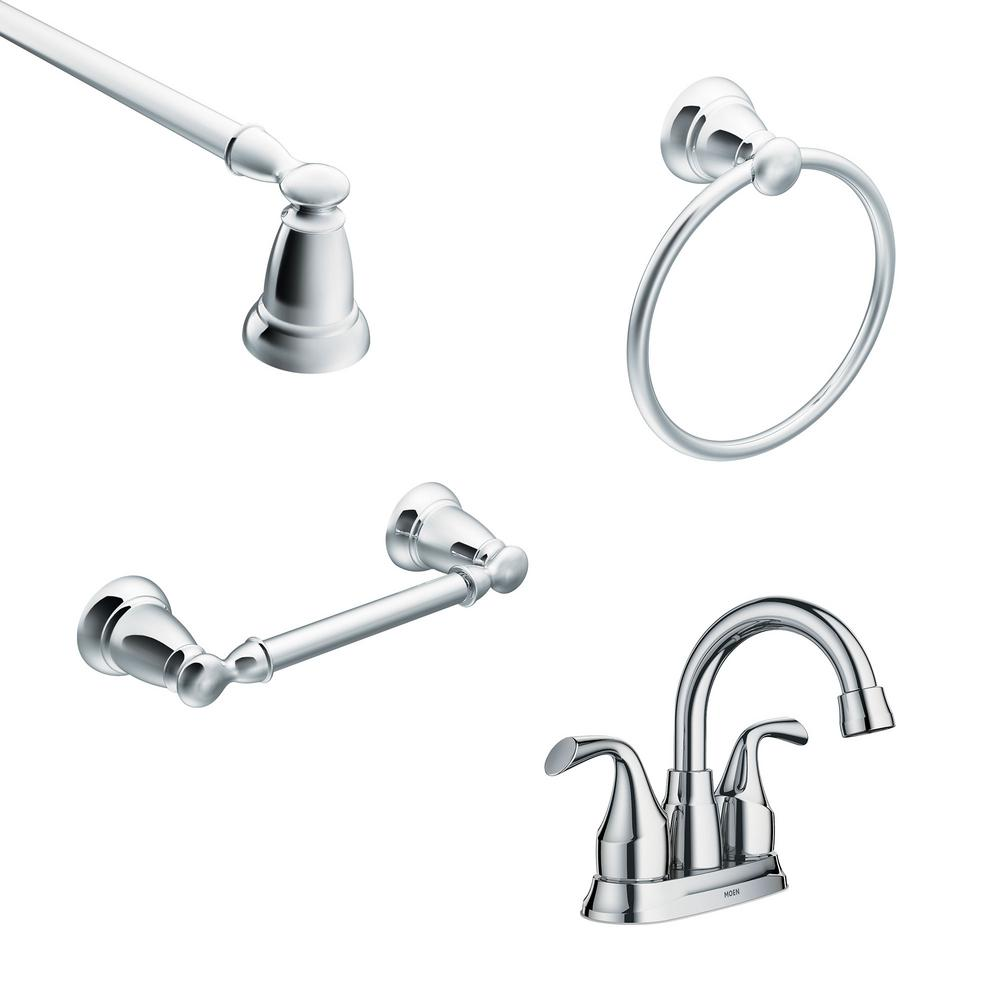 Centerset 2 Handle Bathroom Faucet With 3 Piece Bath