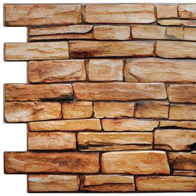 3D Falkirk Retro 10/1000 in. x 39 in. x 20 in. Brown Red Faux Slate PVC Wall Panel