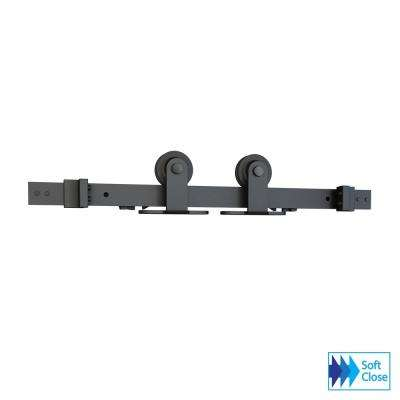 Soft Close Black Solid Steel Sliding Rolling Barn Door Hardware Kit for Single Wood Doors