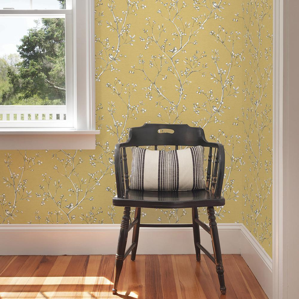 Chesapeake Tadley Yellow Branch Wallpaper 3112 002751 The Home Depot