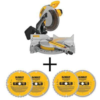 15 Amp Corded 12 in. Compound Single Bevel Miter Saw with 12 in. Miter Saw Blade 32-Teeth and 80-Teeth (4-Pack)