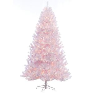 Pre Lit Incandescent Northern Fir Shiny White Pvc Artificial Christmas Tree With 600 Ul Clear Lights 277 Nfw 75c6 The Home Depot