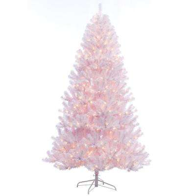 7.5 ft. Pre-Lit Incandescent Northern Fir White PVC Artificial Christmas Tree with 600 UL Clear Lights
