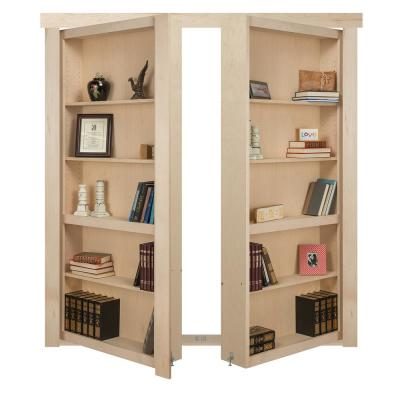 72 in. x 80 in. Flush Mount Assembled Maple Unfinished Out-Swing Solid Core Interior French Bookcase Door