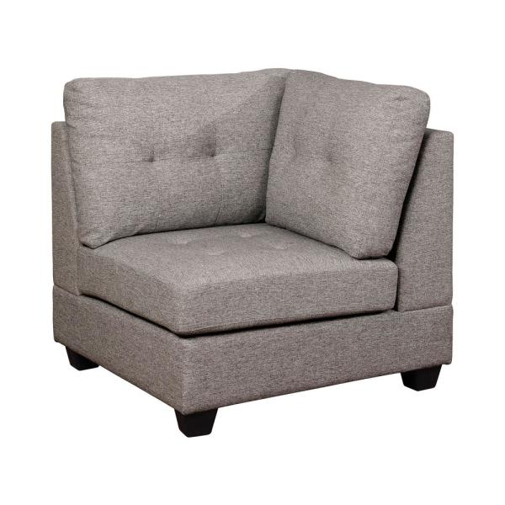 Isobel Light Gray Tufted Corner Chair