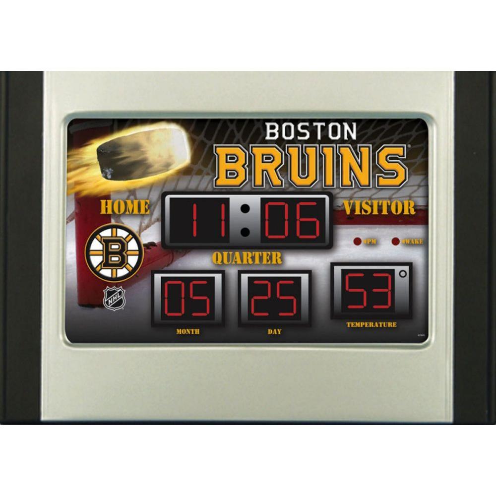Boston Bruins 6.5 in. x 9 in. Scoreboard Alarm Clock with Temperature