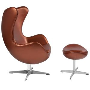 Awe Inspiring Carnegy Avenue Copper Leather Chair And Ottoman Set Cga Zb Gmtry Best Dining Table And Chair Ideas Images Gmtryco