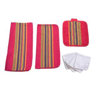 Home Basics Sierra Kitchen Towel Set in Red (8-Piece) by Home Basics