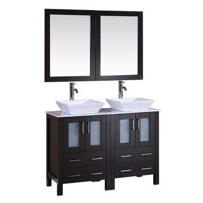 48 in. W Double Bath Vanity with Carrara Marble Vanity Top in Black with White Basin and Mirror