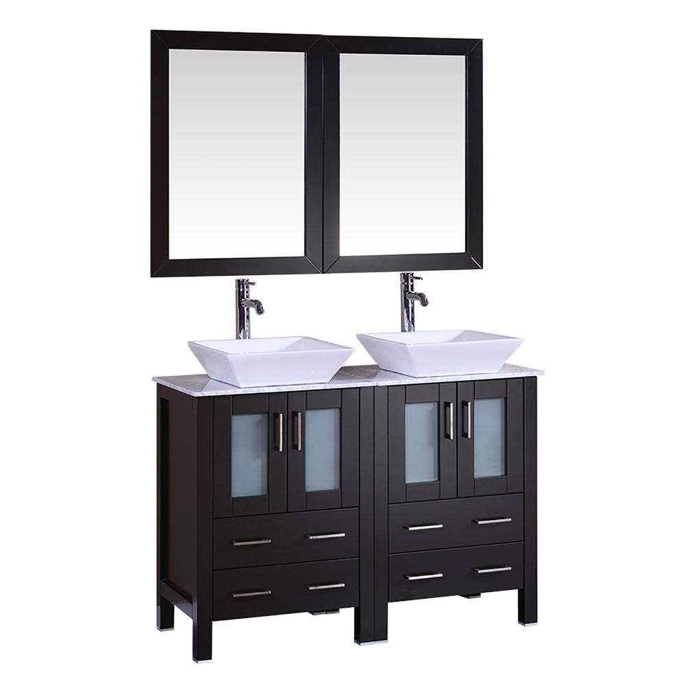 Bosconi 48 In W Double Bath Vanity With Carrara Marble Vanity Top