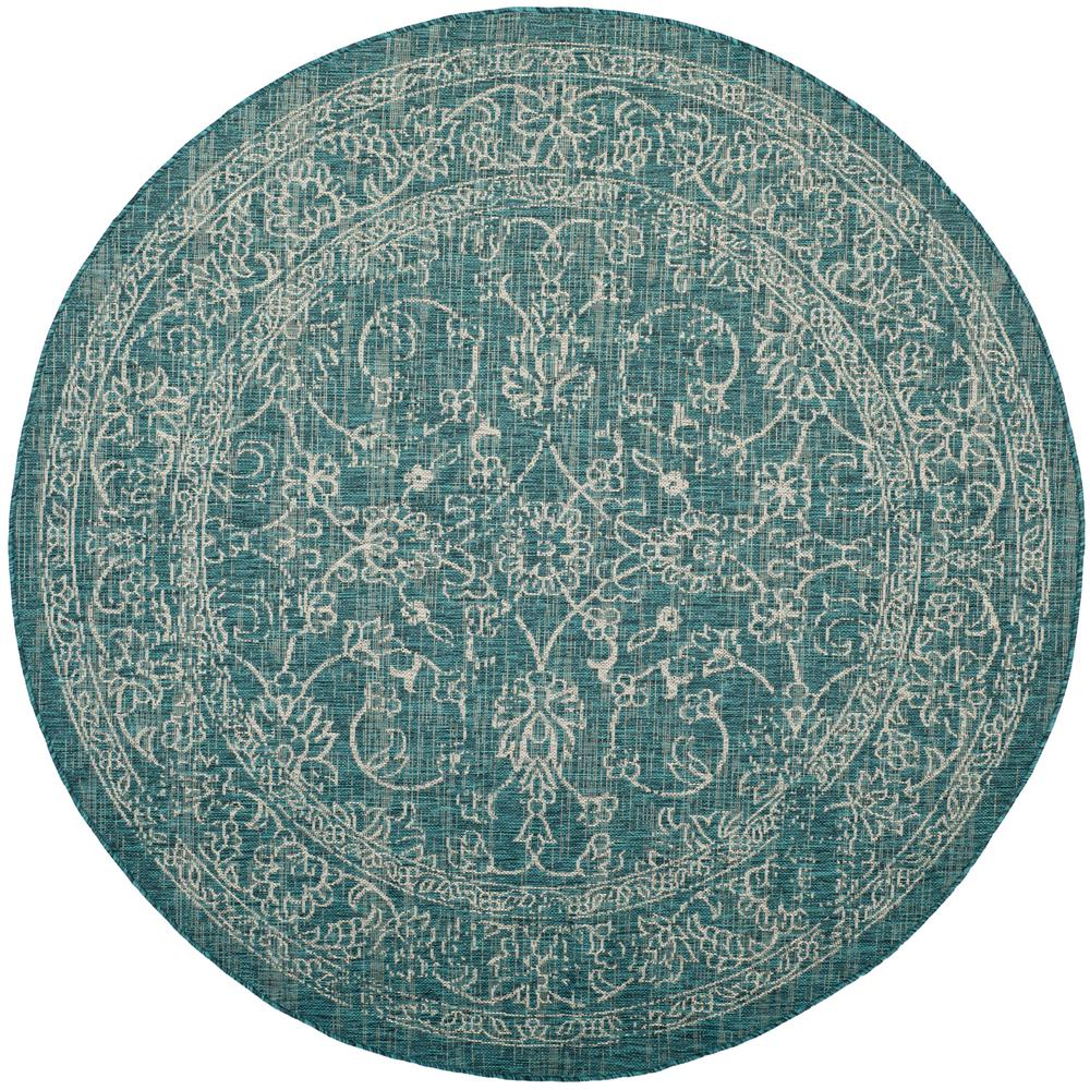Safavieh Courtyard Turquoise 6 Ft. 7 In. X 6 Ft. 7 In