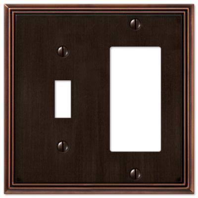 Rhodes 2 Gang 1-Toggle and 1-Rocker Metal Wall Plate - Aged Bronze