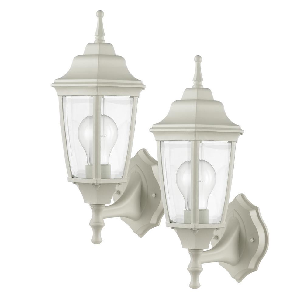 Oxford 1-Light Matte White and Clear Glass Outdoor Upward Wall Sconce