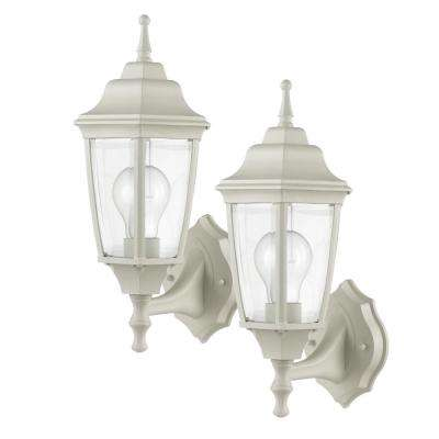 Oxford 1-Light Matte White and Clear Glass Outdoor Upward Wall Sconce (2 Pack)