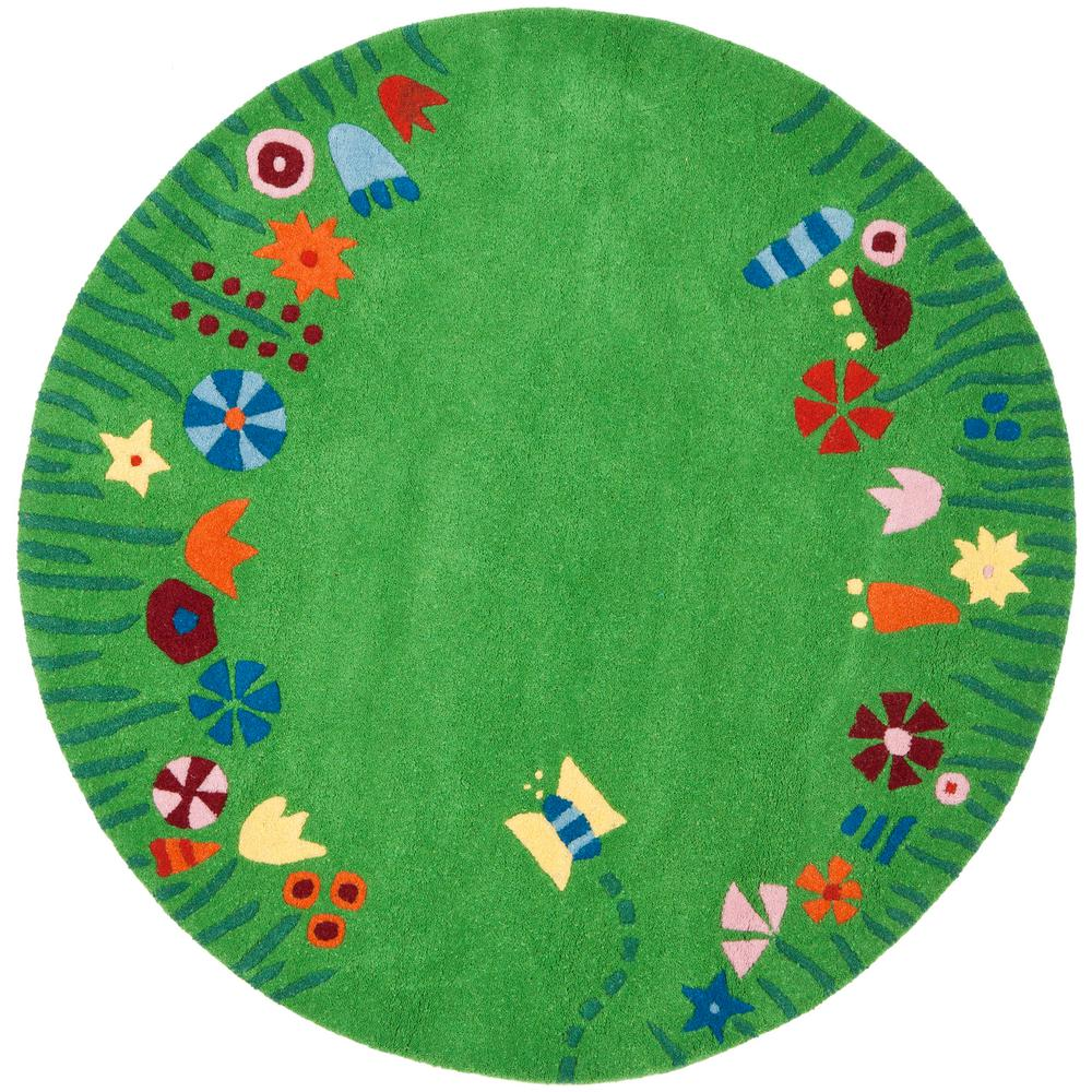 Safavieh Kids Green/Multi 4 Ft. X 4 Ft. Round Area Rug