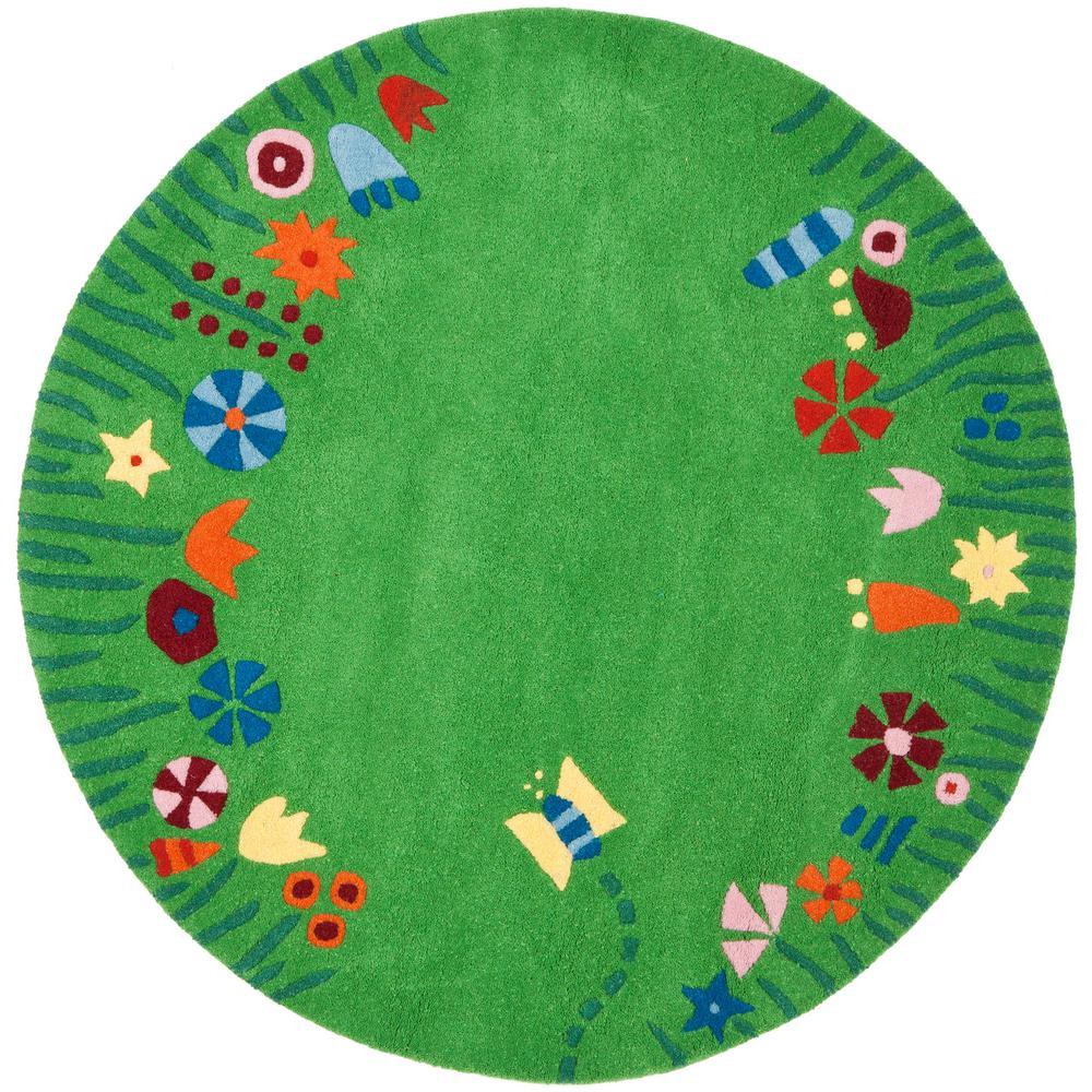 Safavieh Kids Green Multi 4 Ft X 4 Ft Round Area Rug