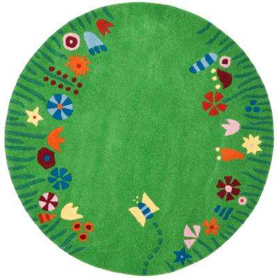 Kids Green/Multi 4 ft. x 4 ft. Round Area Rug