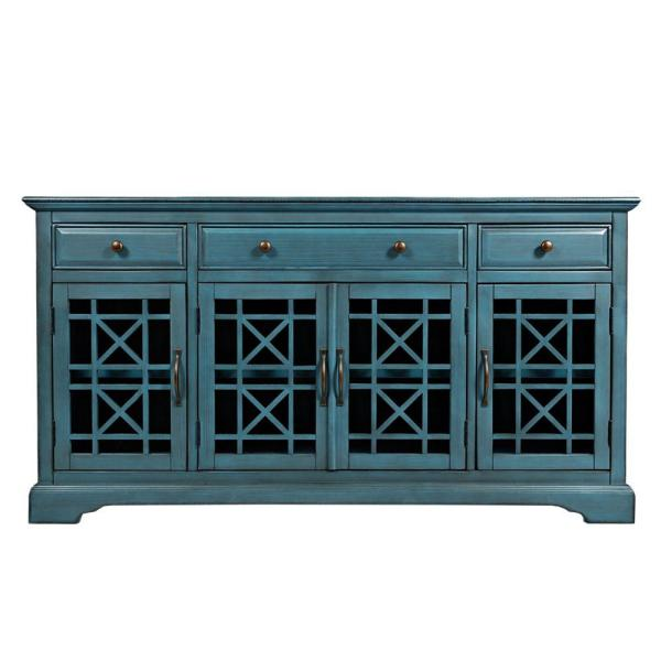 Craftsman Series 60 in W Antique Blue Wooden Media Unit Fits 60 in. TV with 3-Drawers