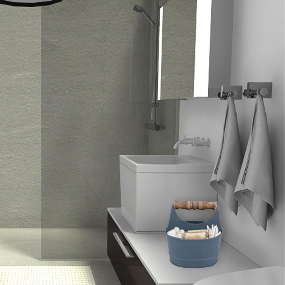 Benzara Iron Toilet Caddy with Wooden Handles and Toilette Front in Dark Gray