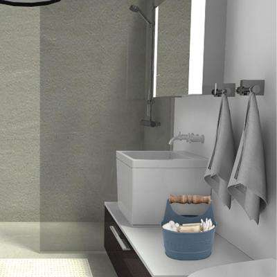 Iron Toilet Caddy with Wooden Handles and Toilette Front in Dark Gray