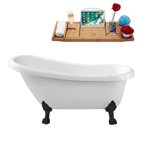 61 in. Acrylic Clawfoot Non-Whirlpool Bathtub in White