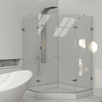 Gemini 42.125 in. x 78.75 in. Frameless Neo-Angle Shower Enclosure in Brushed Nickel with Clear Glass and Base