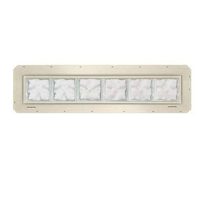 46.75 in. x 9.25 in. x 3.25 in. Wave Pattern Glass Block Window with Almond Colored Vinyl Nailing Fin