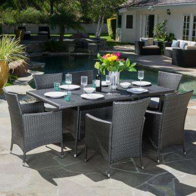 Malta Grey 7-Piece Wicker Outdoor Dining Set