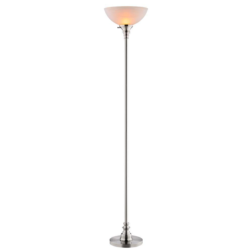 Captivating Brushed Steel Torchiere Lamp With Frosted Glass Shade