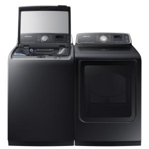 Samsung 7 4 cu  ft  Gas Dryer with Steam in Black Stainless, ENERGY STAR
