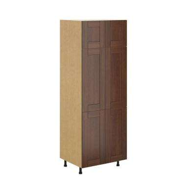 Lyon Ready to Assemble 30 x 83.5 x 24.5 in. Pantry/Utility Cabinet in Maple Melamine and Door in Medium Brown