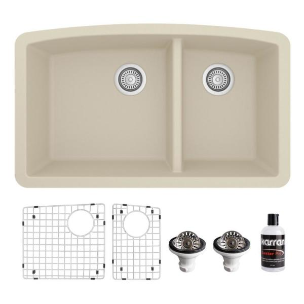 QU-711 Quartz/Granite Composite 32 in. Double Bowl 60/40 Undermount Kitchen Sink with Grids & Basket Strainers in Bisque