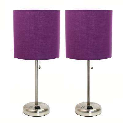 Brushed Steel and Purple Stick Lamp with Charging Outlet and Fabric Shade 2 Pack Set