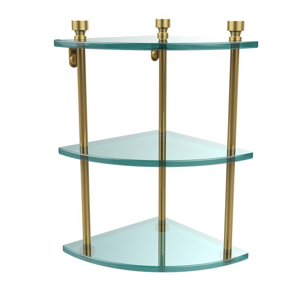 Foxtrot 8 in. L  x 15 in. H  x 8 in. W 3-Tier Corner Clear Glass Bathroom Shelf in Polished Brass