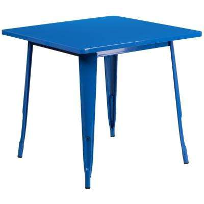 Teal Square Metal Outdoor Bistro Table