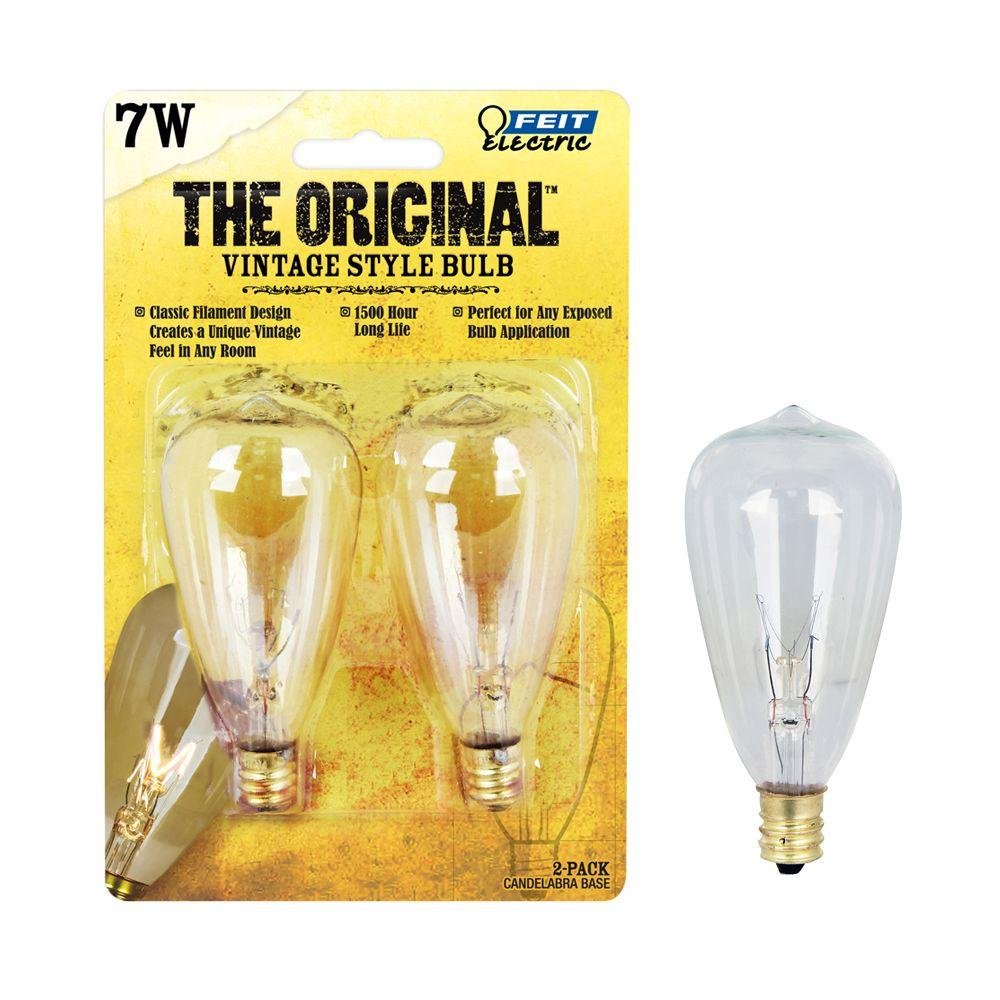 7W Soft White ST12 Dimmable Incandescent Antique Edison Amber Glass Vintage Style Light Bulb (24-Pack)