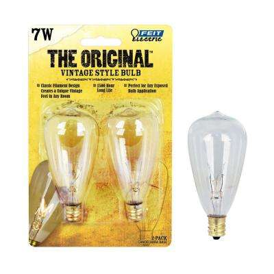 7W Soft White ST12 Dimmable Incandescent Antique Edison Amber Glass Vintage Style Light Bulb (2-Pack)
