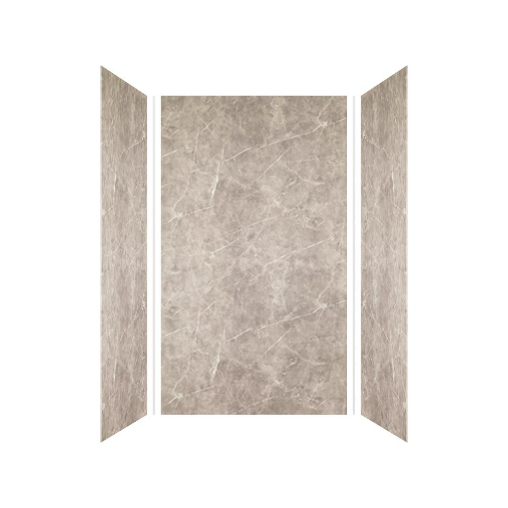 Transolid Expressions 36 in. x 42 in. x 72 in. 3-Piece Easy Up Adhesive Alcove Shower Wall Surround in Dover Stone
