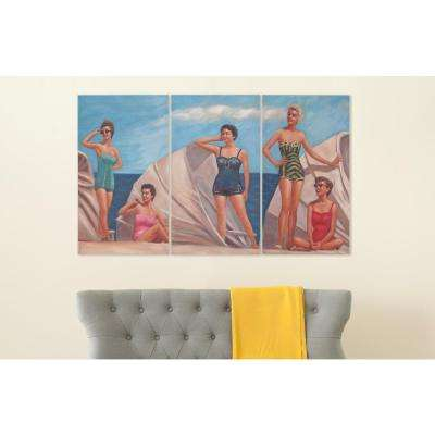 """28 in. x 16 in. """"By the Sea"""" Triptych Painted Canvas Wall Art"""