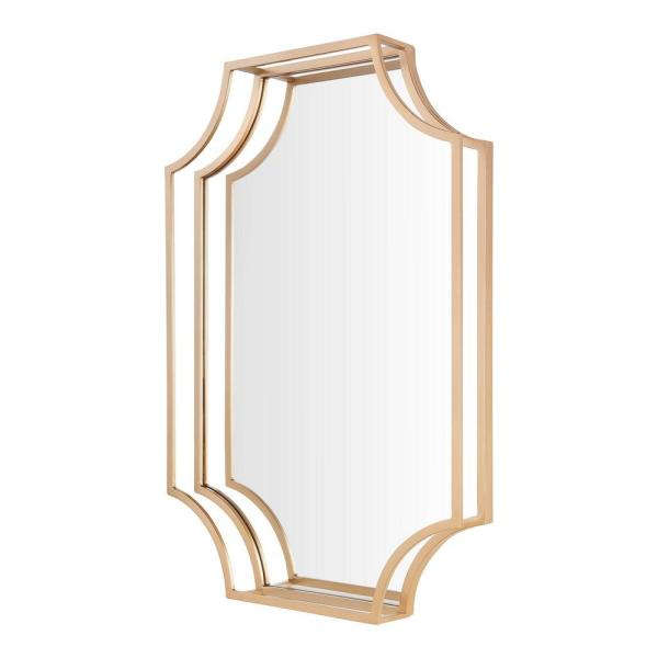 StyleWell - Medium Rectangle Gold Dimensional Classic Accent Mirror (30 in. H x 20 in. W)