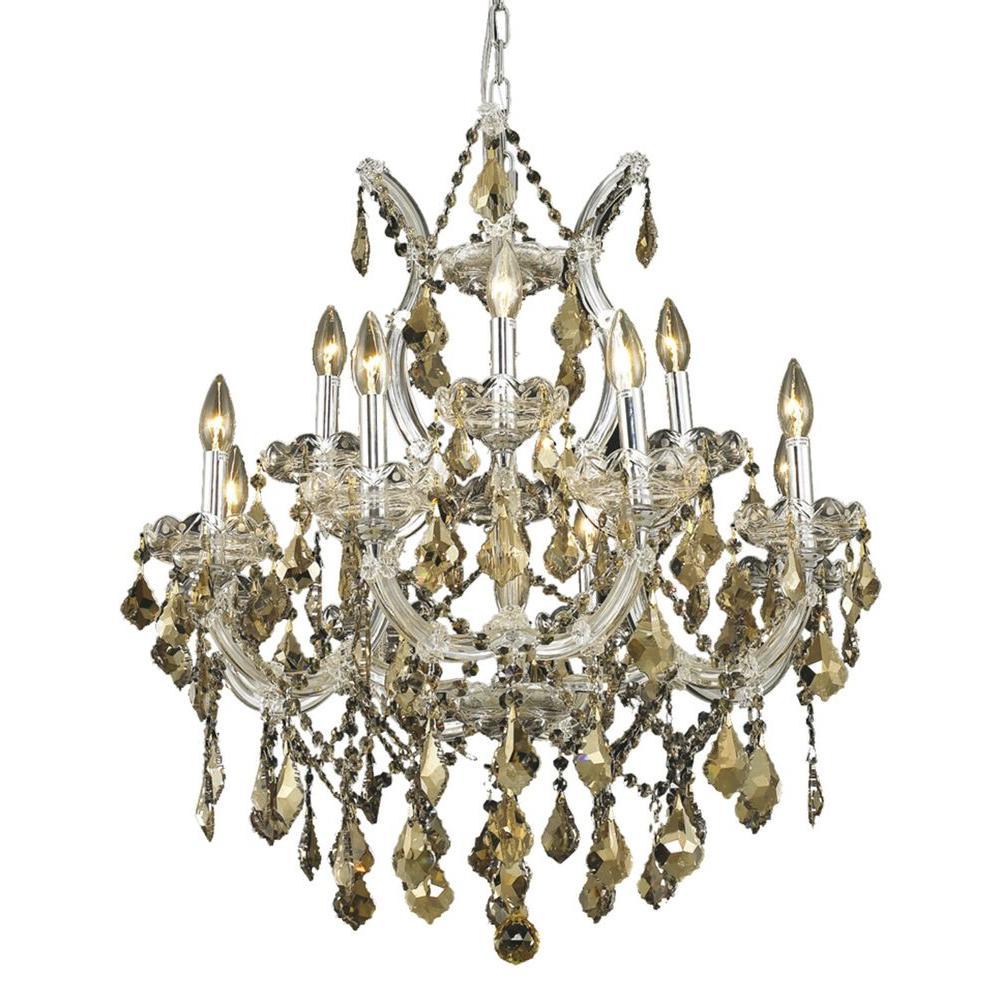 13-Light Chrome Chandelier with Golden Teak Smoky Crystal