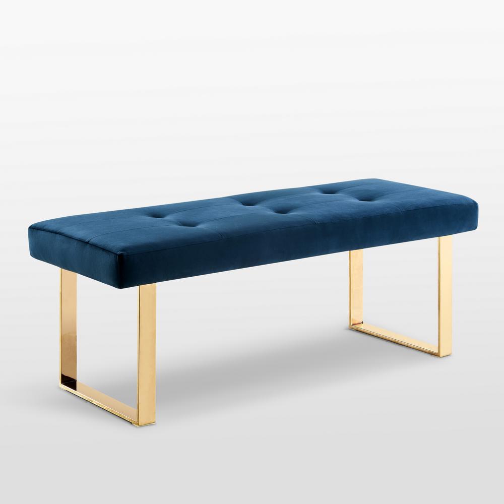 Tremendous Inspired Home Alonso Navy Gold Velvet Bench Square Tufted Ibusinesslaw Wood Chair Design Ideas Ibusinesslaworg