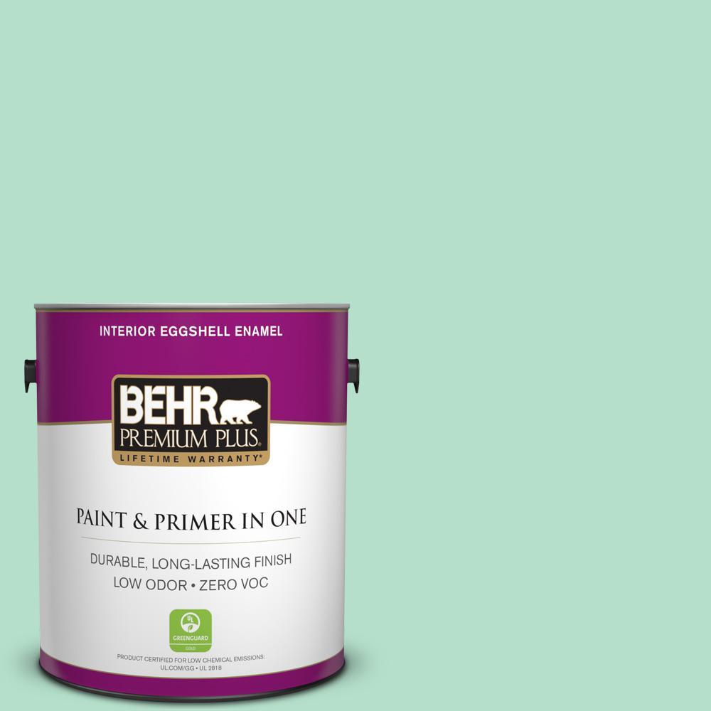 BEHR Premium Plus 1-gal. #480C-3 Aqua Bay Zero VOC Eggshell Enamel Interior Paint