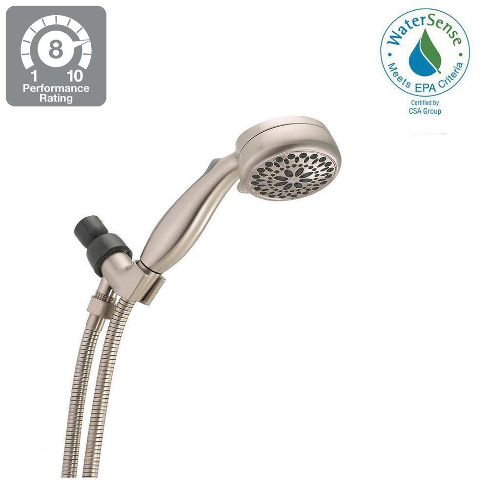 7-Spray Handheld Showerhead with Pause in Brushed Nickel