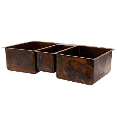 Under Counter/Surface-Mount Hammered Copper 42 in. 0-Hole Triple Bowl Kitchen Sink in Oil Rubbed Bronze