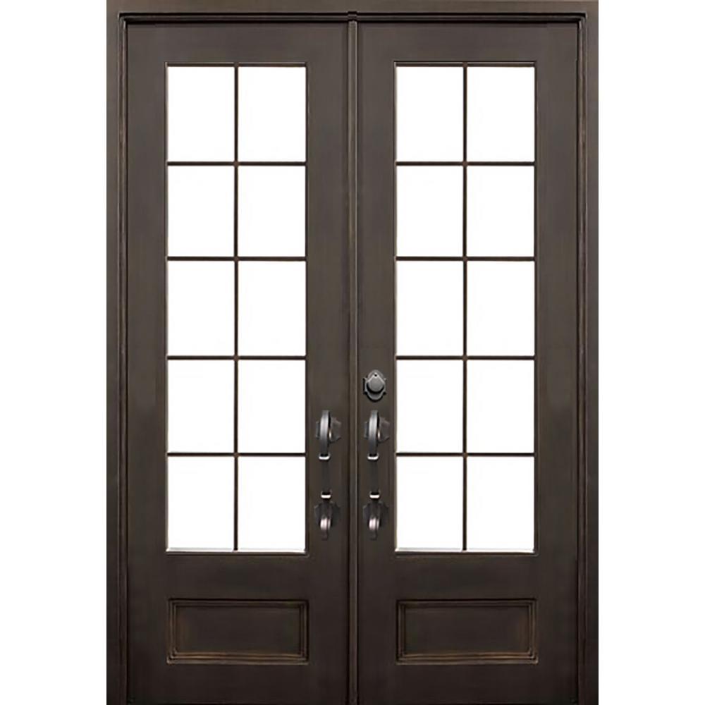ALLURE IRON DOORS & WINDOWS 72 in. x 96 in. Key Largo Flat Top Dark Bronze 3/4 Lite Painted Wrought Iron Prehung Front Door (Hardware Included)