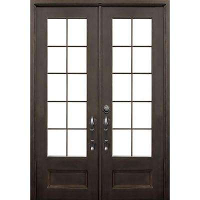 72 in. x 96 in. Key Largo Flat Top Dark Bronze 3/4 Lite Painted Wrought Iron Prehung Front Door (Hardware Included)